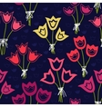 seamless pattern with bunches of tulips on a dark vector image
