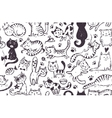 Seamless pattern with hand draw funny cats