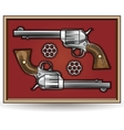 Set of revolvers drawn in vintage style vector image vector image