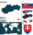 Slovakia map world vector image vector image