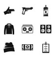 street rap icon set simple style vector image vector image