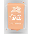 summer sale with frame and flower in orange color vector image