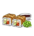 sushi color sketch canada roll vector image vector image