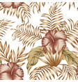tropical botanical composition hibiscus gold palm vector image vector image