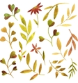 watercolor green leaves and branches vector image vector image