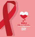 world hemophilia day card ribbon emblem heart vector image