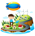A boy floating with the aircraft vector image vector image
