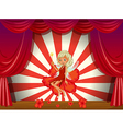 A stage with a fairy in a red dress vector image vector image