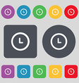 alarm icon sign A set of 12 colored buttons Flat vector image vector image