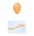 balloon with happy birthday tag vector image vector image