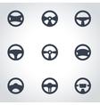 black steering wheels icon set vector image vector image