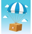 Blue and White Parachute Holding Delivery Box vector image vector image