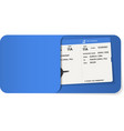 boarding pass inside of blue envelope vector image vector image