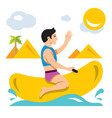 bot ride a banana boat flat style colorful vector image