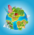 cartoon cute planet concept planet globe with vector image vector image