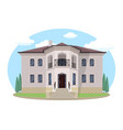 cartoon house exterior with blue clouded sky front vector image