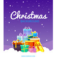 christmas greetings poster snow weather with new vector image vector image