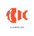 clownfish sea fish geometric flat style design vector image