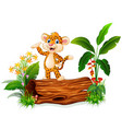 cute baby tiger posing on tree stump vector image vector image