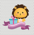 cute leon with gift kawaii birthday card vector image