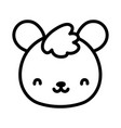 cute teddy bear face toy cartoon icon line style vector image
