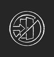 do not enter chalk white icon on black background vector image