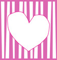frame in shape of heart on rose and white striped vector image