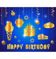 happy birthday with text glossy gold vector image vector image
