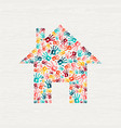 human hand print community house concept vector image vector image