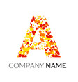 letter a logo with orange yellow red particles vector image vector image