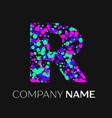 letter r logo with pink purple green particles vector image vector image
