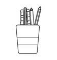 line school utensils inside cup tool design vector image vector image