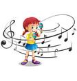 little girl shaking maracas vector image vector image