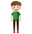 man in green shirt smiling vector image
