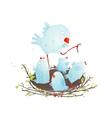 Mother Bird in Nest Feeding her Babies vector image vector image