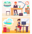office workers dream about travel to hot country vector image vector image