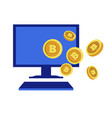 online mining bitcoin network computer monitor vector image vector image