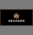 pf hexagon logo design inspiration vector image vector image