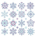 pixel art winter snowflakes set vector image