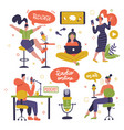 podcast recording and listening set people vector image vector image