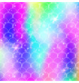 princess mermaid background with kawaii rainbow vector image vector image