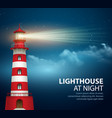 Realistic lighthouse in the night sky background vector image