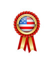 red rosette with usa flag in gold badge american vector image