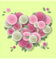 rose heart paper art style design vector image
