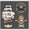 sea emblem - pirate ship and jolly roger vector image vector image