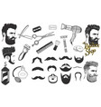 set signs and icons for barbershop isolated vector image
