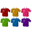 Shirts in six different colors vector image vector image
