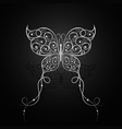 silver butterfly with swirl pattern vector image