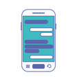 smartphone with chat text in screen in blue and vector image vector image
