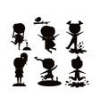Summer kids black silhouette vector image